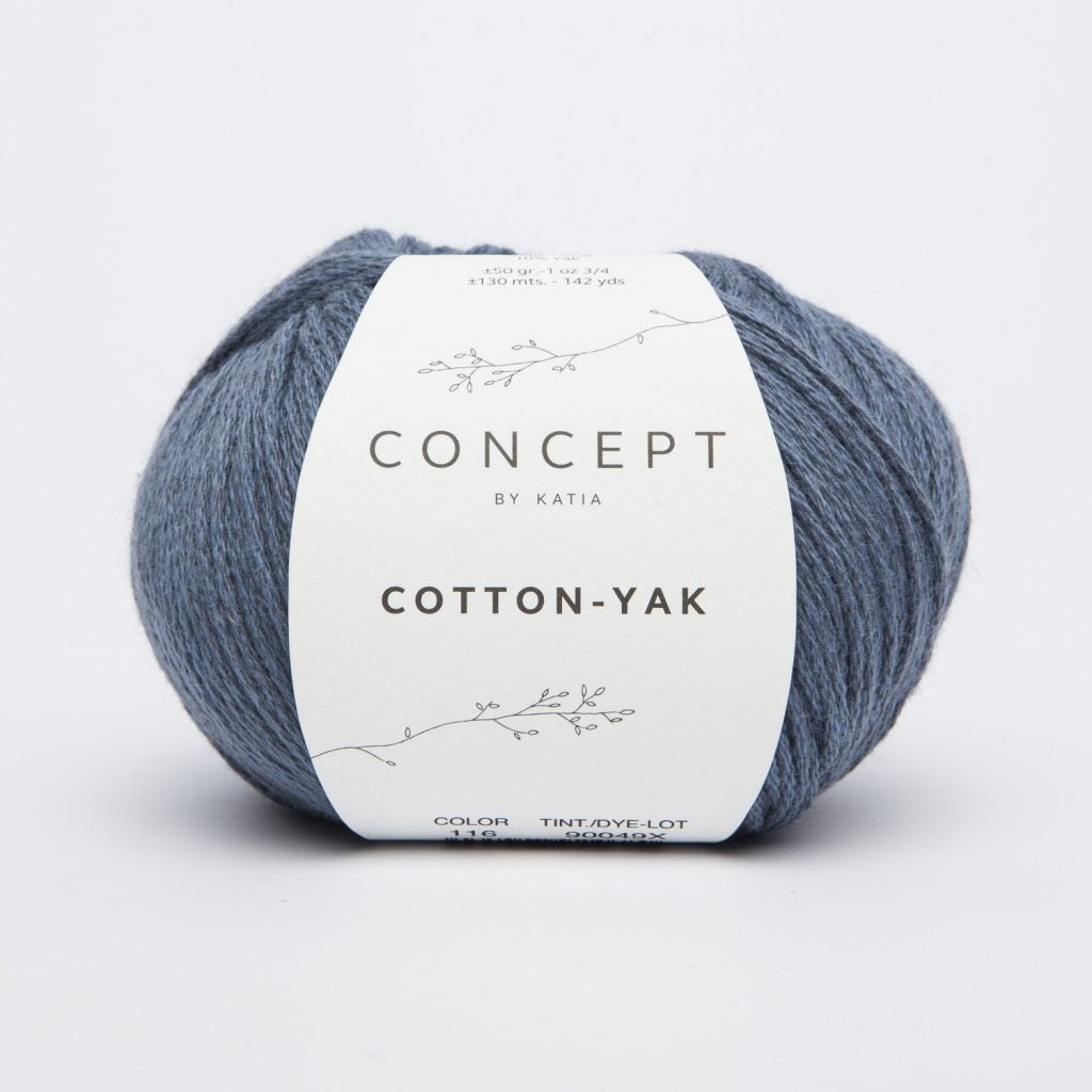 Katia | Aran | Concept Cotton Yak | 60% Cotton, 30% Lana, 10% Yak | 130 yards | 50 grams