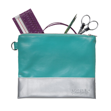 Load image into Gallery viewer, Knit Picks Colorblock Zippered Pouch - Teal & Silver