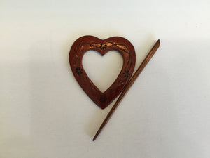 Heart shaped shawl pin in Padauk wood