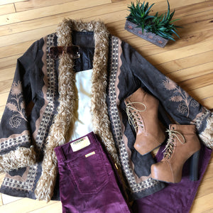 Brown Suede Penny Lane Jacket with Killer Embroidery