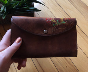 Leather Wallet with Hand-Made Mushrooms