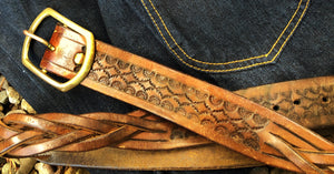 Leather Tooled and Braided Belt