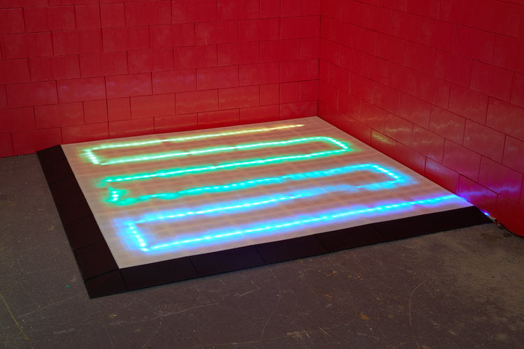 Illuminated dance floor are possible by running LED lights in the integrated cable channels in translucent floor modules