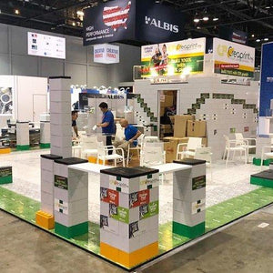 Modular exhibit flooring in a variety of colors, patterns and designs.