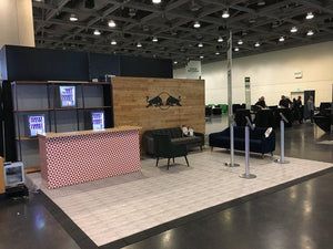 Design trade show booths and exhibits using EverDance realistic wood flooring tiles.