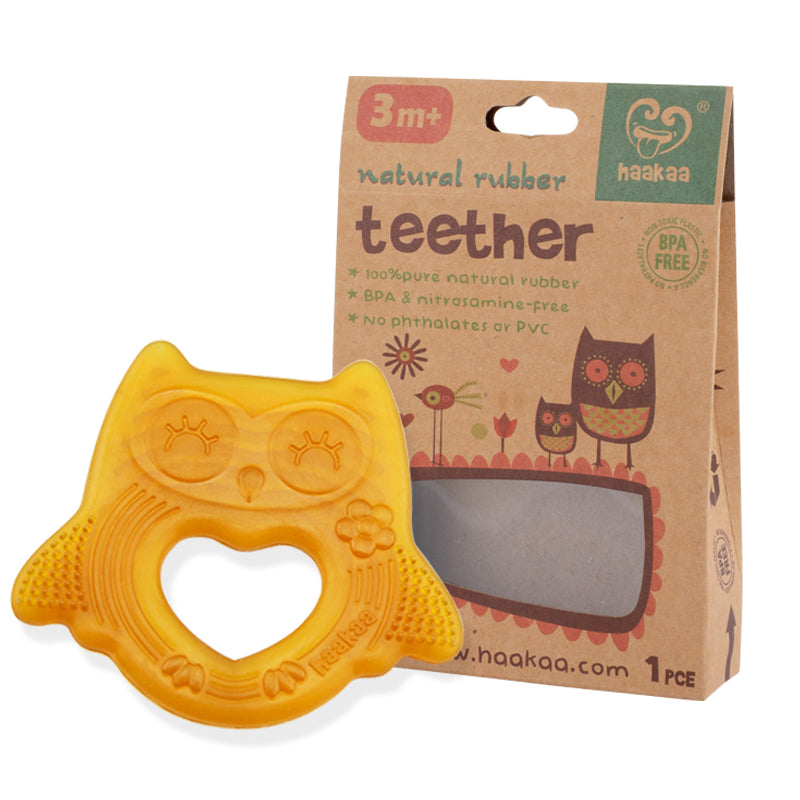 Natural Rubber Owl Teether -Smiling