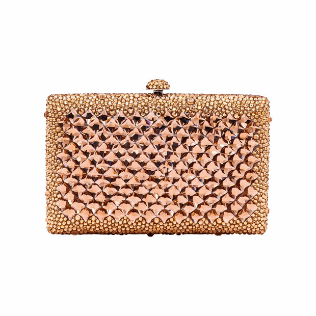 Rectangular Rose Gold Crystals Evening Bag - GLAM CONFIDENTIAL
