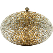 Egg Shaped Crystal Clutch Bag in Silver and Gold-GCB3001
