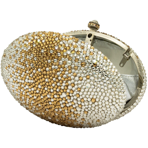 Egg Shaped Crystal Clutch Bag in Silver and Gold-GCB3001 - GLAM CONFIDENTIAL