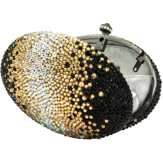 Egg Shaped Silver Gold and Black Crystals Clutch - GLAM CONFIDENTIAL