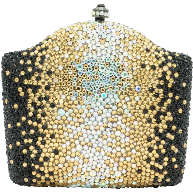 Black Silver and Gold Crystal Clutch Bag - GLAM CONFIDENTIAL