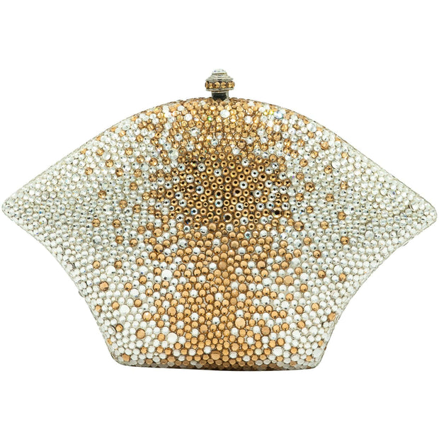 Fan Shaped Gold And Silver Clutch Bag - GLAM CONFIDENTIAL