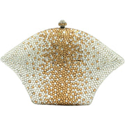 Fan Shaped Crystal Clutch Bag in Silver and Gold-GCB3005