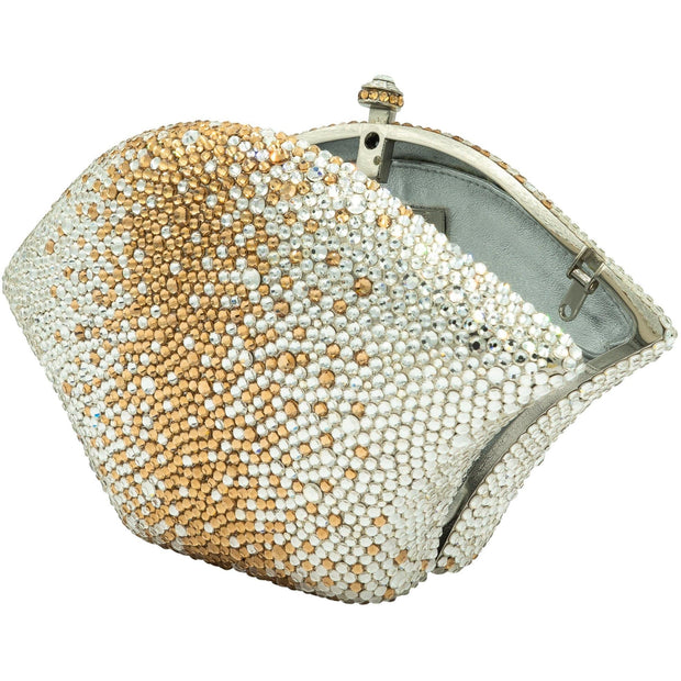 Fan Shaped Crystal Clutch Bag in Silver and Gold-GCB3005 - GLAM CONFIDENTIAL