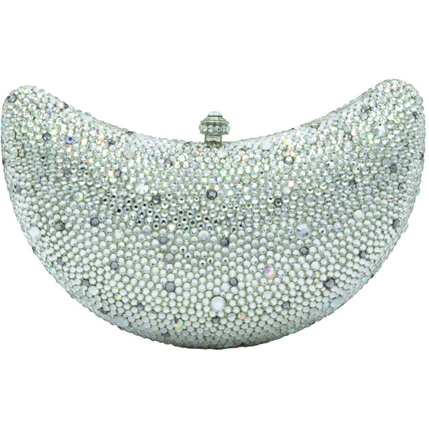 Half-Moon Shaped Silver Clutch Bag - GLAM CONFIDENTIAL