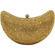 Gold Crystal Clutch Bag Moon Shaped-GCB3008 - GLAM CONFIDENTIAL