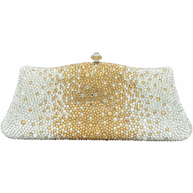 Fancy Crystal Clutch Bag in Silver and Gold-GCB3009