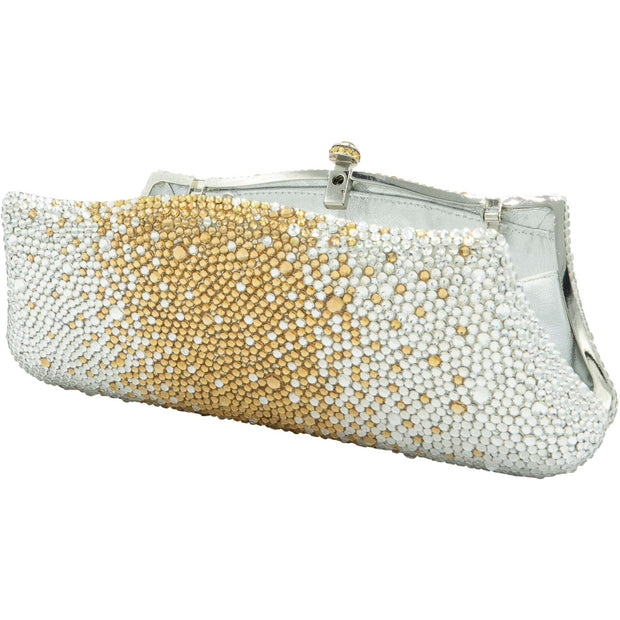 Fancy Gold And Silver Crystals Clutch - GLAM CONFIDENTIAL