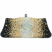Gold Silver and Black Fancy Crystal Clutch Bag-GCB3010