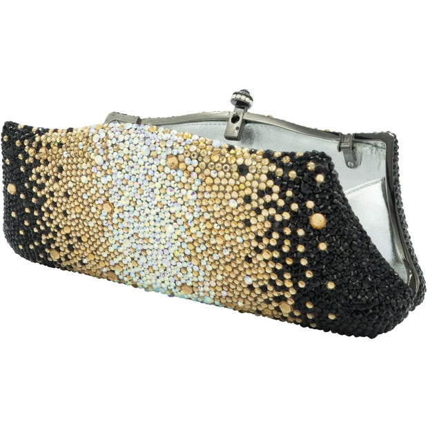 Fancy Gold Silver And Black Crystals Clutch Bag - GLAM CONFIDENTIAL