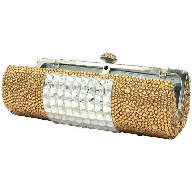 Baguette Shaped Gold And Silver Clutch - GLAM CONFIDENTIAL