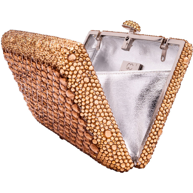 Stunning Rectangular Rose Gold Crystals Clutch Bag - GLAM CONFIDENTIAL