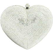 Heart Shaped Silver Clutch Bag - GLAM CONFIDENTIAL