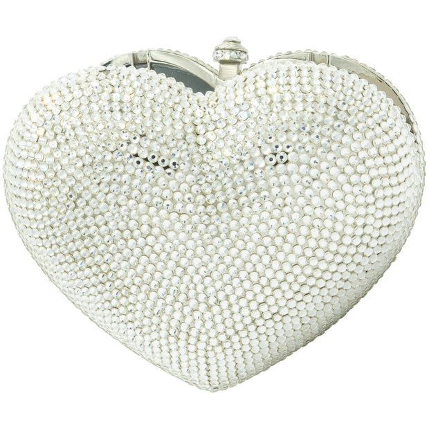 Heart Shaped Silver Clutch - GLAM CONFIDENTIAL