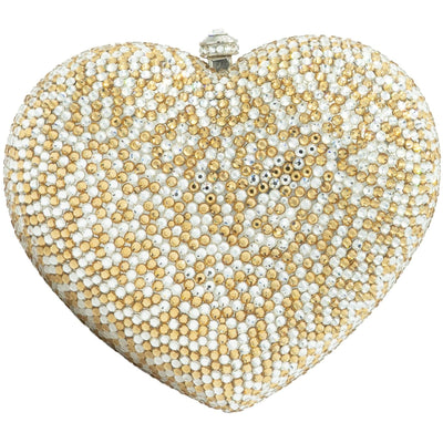 Heart Shaped Silver and Gold Clutch Bag - GLAM CONFIDENTIAL