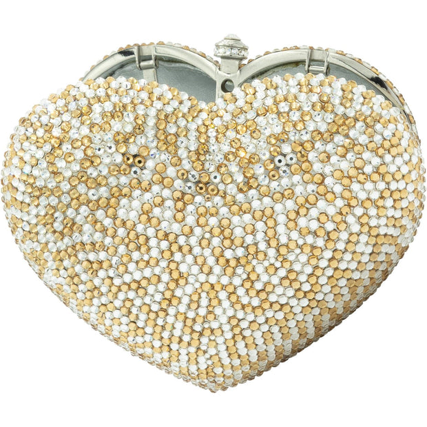 Silver and Gold Crystal Heart Clutch Bag-GCB4003 - GLAM CONFIDENTIAL