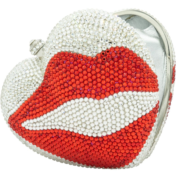 Silver Heart Shaped Clutch Adorned With Red Lip - GLAM CONFIDENTIAL