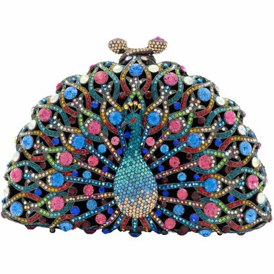 Peacock Crystal Clutch Bag-GCB5006 - GLAM CONFIDENTIAL