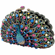 Peacock Shaped Multicoloured Clutch - GLAM CONFIDENTIAL