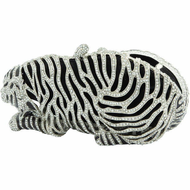 Tiger Shaped Silver And Black Crystals Clutch - GLAM CONFIDENTIAL