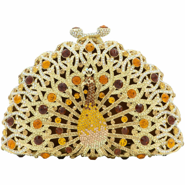 Gold Peacock Crystal Clutch Bag-GCB5011 - GLAM CONFIDENTIAL