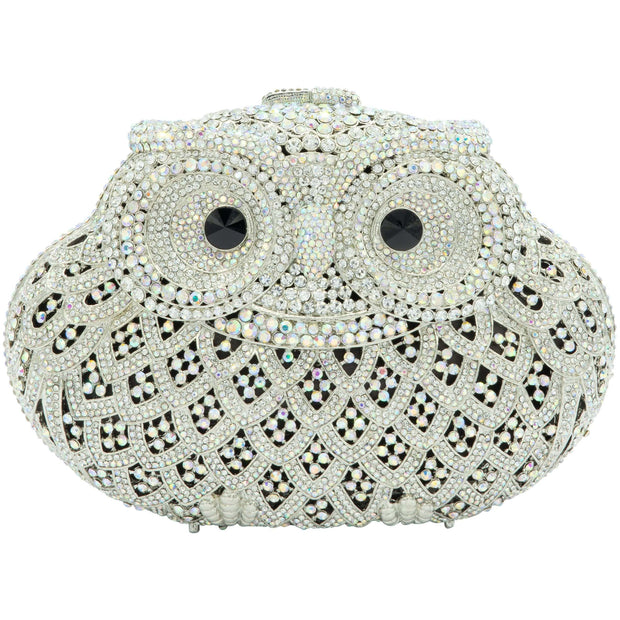 Silver Owl Crystal Clutch Bag-GCB5012 - GLAM CONFIDENTIAL