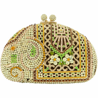 India Gold and Green Crystal Clutch Bag-GCB5013 - GLAM CONFIDENTIAL