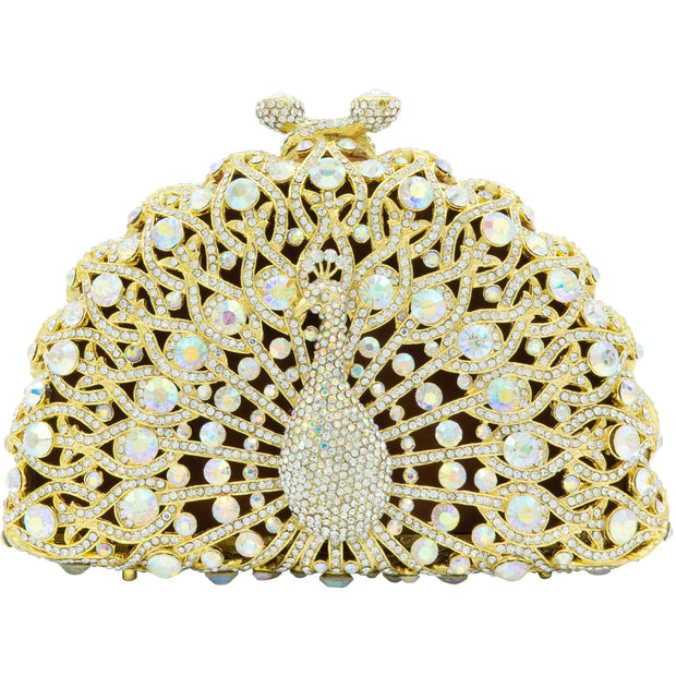 Peacock Shape Gold Clutch Bag - GLAM CONFIDENTIAL