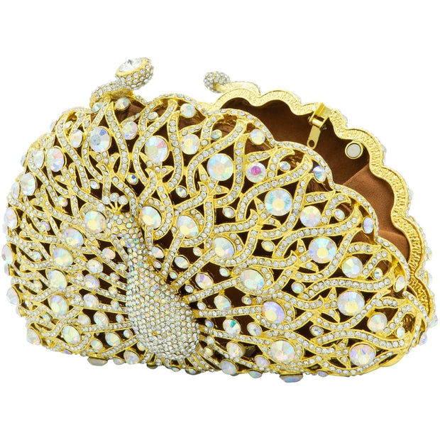 Peacock Shape Gold Clutch- GLAM CONFIDENTIAL