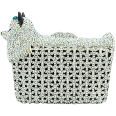 Dog Shape Silver Clutch Bag - GLAM CONFIDENTIAL