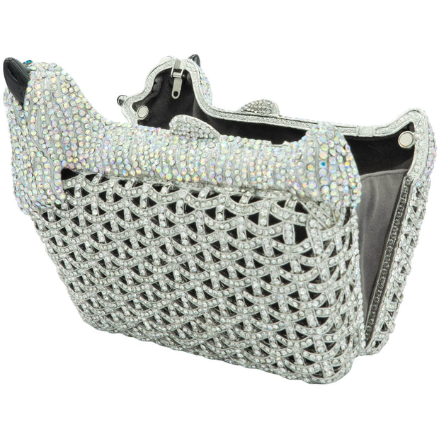 Dog Shape Silver Crystal Evening Clutch Bag - GLAM CONFIDENTIAL