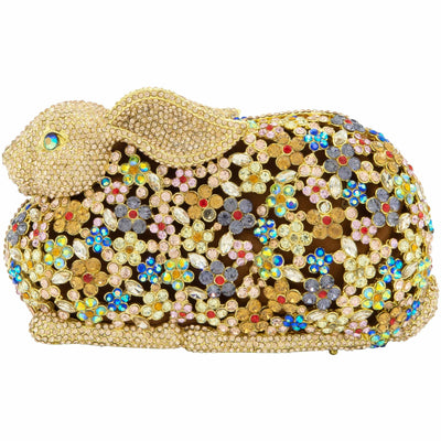 Gold Bunny Crystal Clutch Bag-GCB5020 - GLAM CONFIDENTIAL