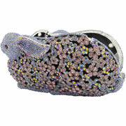 Rabbit Shaped Purple And Multicoloured Crystals Clutch Bag - GLAM CONFIDENTIAL