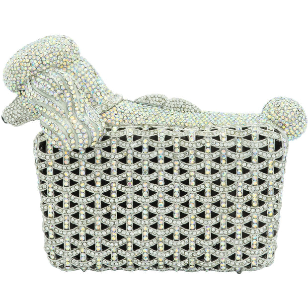 Silver Poodle Crystal Clutch Bag-GCB5022 - GLAM CONFIDENTIAL