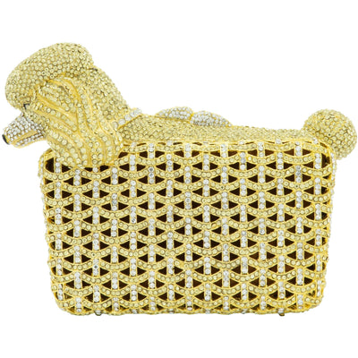 Poodle Dog Shaped Gold Clutch Bag - GLAM CONFIDENTIAL