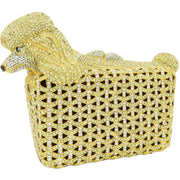 Gold Poodle Crystal Clutch Bag-GCB5023