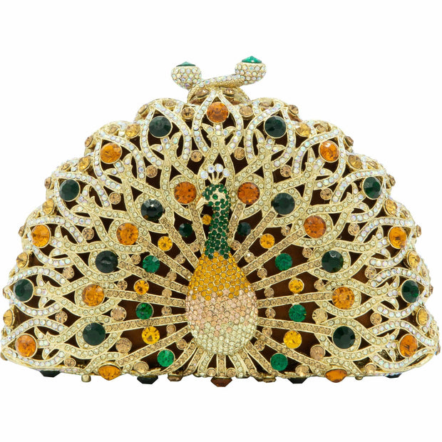 Peacock Shaped Green And Gold Clutch Bag - GLAM CONFIDENTIAL
