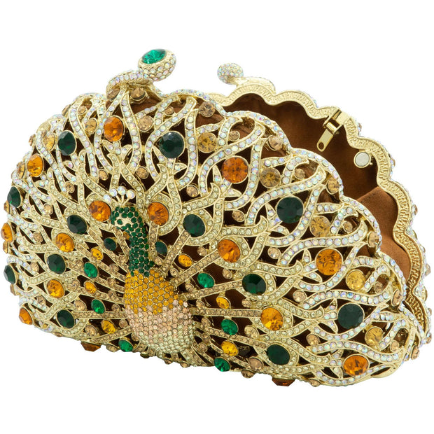 Peacock Shaped Green And Gold Clutch - GLAM CONFIDENTIAL