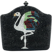 Flamingo Centrepiece Swarovski Elements Black Clutch Bag- GLAM CONFIDENTIAL