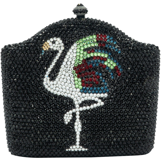 Flamingo Swarovski Elements Black Clutch